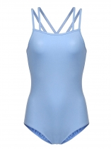 Azul Camisola de dupla mulheres Leotard Criss Cross Back Hollow Out Dancewear