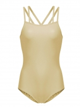 Yellow Women Double-Strap Camisole Leotard Criss Cross Back Hollow Out Dancewear