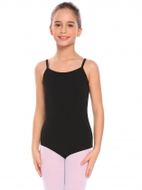 Black Girls Gymnastics Camisole Leotard Criss Cross Back Ballet Bodysuit