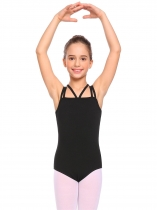 Black Girl Gymnastics Strappy Leotard Solid Camisole Bodysuit Ballet Dancewear