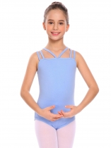 Blue Fille Gymnastique Strappy Justaucorps Solide Camisole Body Ballet Dancewear