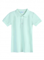 Light blue Kids Boy Short Sleeve Solid Classic Polo Shirts