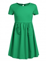 Green Kids Girl O-Neck Short Sleeve Solid High Waist Pullover Dress