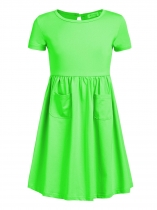 Grass green Kids Girl O-Neck Short Sleeve Solid High Waist Pullover Dress