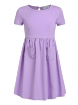 Purple Kids Girl O-Neck Short Sleeve Solid High Waist Pullover Dress