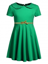 Dark green Kids Girl O-Neck Short Sleeve Solid High Waist Bowknot Button Pullover Dress