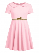 Pink Kids Girl O-Neck Short Sleeve Solid High Waist Bowknot Button Pullover Dress