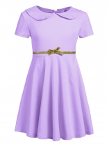 Purple Kids Girl O-Neck Short Sleeve Solid High Waist Bowknot Button Pullover Dress