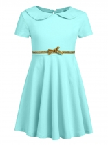Blue Kids Girl O-Neck Short Sleeve Solid High Waist Bowknot Button Pullover Dress