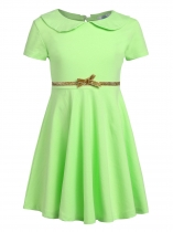 Green Kids Girl O-Neck Short Sleeve Solid High Waist Bowknot Button Pullover Dress