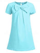Blue Kids Girl O-neck Short Sleeve Solid Button Bowknot Casual Dress