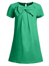 Green Kids Girl O-neck Short Sleeve Solid Button Bowknot Casual Dress