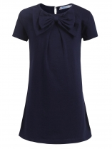 Navy blue Kids Girl O-neck Short Sleeve Solid Button Bowknot Casual Dress