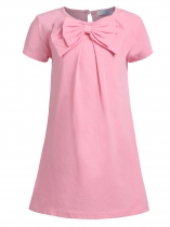 Pink Kids Girl O-neck Short Sleeve Solid Button Bowknot Casual Dress