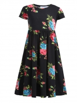 Black Kids Girls Wear Short Sleeve Floral Print Long Maxi Dress