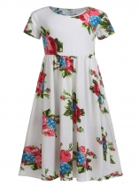 White Kids Girls Wear Short Sleeve Floral Print Long Maxi Dress
