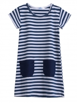 Navy Blue and White Kids O-Neck Short Sleeve Striped Pockets Girl Dress