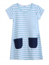 White blue Kids O-Neck Short Sleeve Striped Pockets Girl Dress