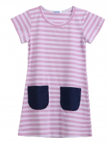 White pink Kids O-Neck Short Sleeve Striped Pockets Girl Dress