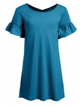Blue Kids Girl O-Neck Short Trumpet Sleeve Solid Dress