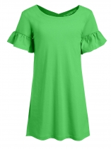 Green Kids Girl O-Neck Short Trumpet Sleeve Solid Dress