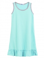Blue Kids Girl O-Neck Sleeveless Pleated Hem Solid Cute Dress