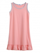 Pink Kids Girl O-Neck Sleeveless Pleated Hem Solid Cute Dress