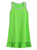 Green Kids Girl O-Neck Sleeveless Pleated Hem Solid Cute Dress
