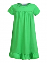 Green Kids Girl Solid O-Neck Short Sleeve High Waist Pleated Hem Cute Dress