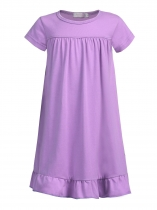 Purple Kids Girl Solid O-Neck Short Sleeve High Waist Pleated Hem Cute Dress