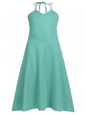 Blue Kids V-Neck Solid Casual Dress 2c1c274435