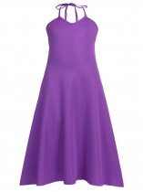 Purple Kids Girl Casual Halter V-Neck Sleeveless Solid Maxi Dress