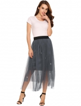 Grey Elastic High Waist Mesh Maxi Bubble Skirt