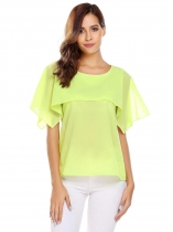 Green Solid Ruffles O-Neck Sleeveless Chiffon Blouse