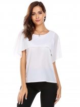 White Solid Ruffles O-Neck Sleeveless Chiffon Blouse