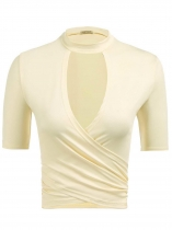 Beige Solid Choker Neck Wrap Front Short Tops