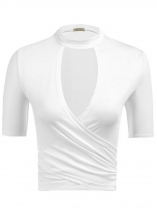 White Solid Choker Neck Wrap Front Short Tops