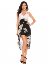 Noir Women Strap V-neck Lace Patchwork Floral Asymmetric Dress Front Split Party