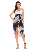 Navy blue Lace Patchwork Floral Asymmetric Dress