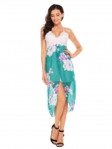 Green Lace Patchwork Floral Asymmetric Dress