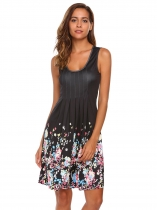 Black Ruched Sleeveless Floral Slim Tank Dress