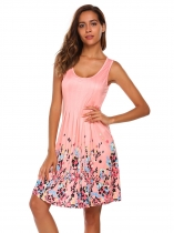 Pink Ruched Sleeveless Floral Slim Tank Dress