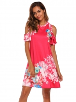 Rose Pink Cold Shoulder Ruffle Short Sleeves Shift Dress