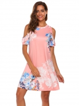 Pink Cold Shoulder Ruffle Short Sleeves Shift Dress