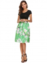 Green High Waist Vintage Style Printed Pleated Skirt