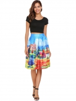 Gradient Blue High Waist Vintage Style Printed Pleated Skirt