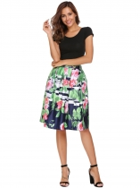 Grass green High Waist Vintage Style Printed Pleated Skirt