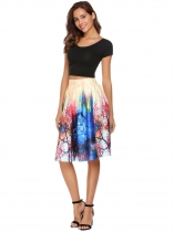 Pink High Waist Vintage Style Printed Pleated Skirt