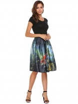 High Waist Vintage Style Printed Pleated Skirt
