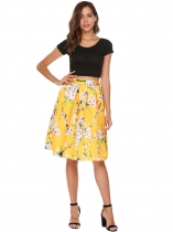 Yellow High Waist Vintage Style Printed Pleated Skirt